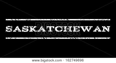 Saskatchewan watermark stamp. Text tag between horizontal parallel lines with grunge design style. Rubber seal stamp with unclean texture. Vector white color ink imprint on a black background.