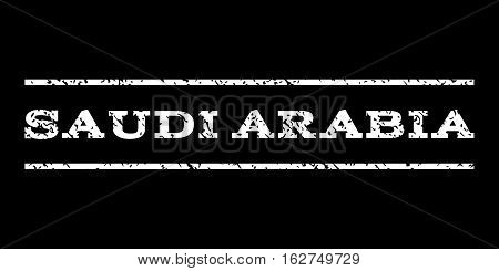 Saudi Arabia watermark stamp. Text tag between horizontal parallel lines with grunge design style. Rubber seal stamp with unclean texture. Vector white color ink imprint on a black background.