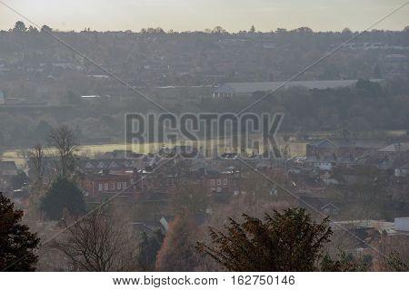 Views of Farnham in Surrey on a hazy winter day
