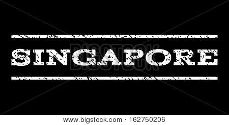 Singapore watermark stamp. Text tag between horizontal parallel lines with grunge design style. Rubber seal stamp with unclean texture. Vector white color ink imprint on a black background.
