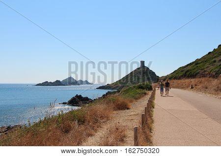 Road toward Genoese tower Ajaccio Corsica France