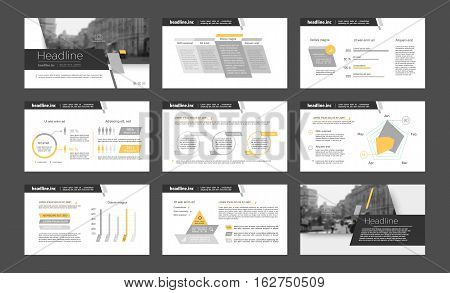 Gray and orange infographic elements for presentation templates. Leaflet, Annual report, book cover design. Brochure, layout, Flyer layout template design.