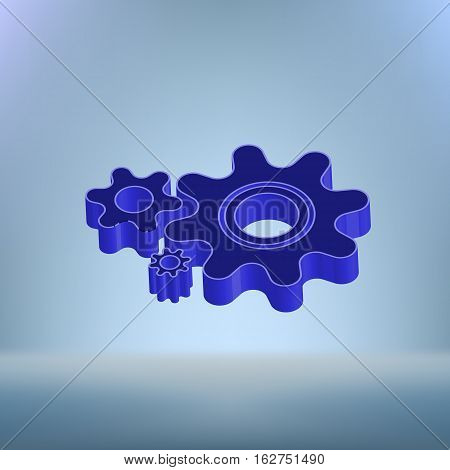 Flat Paper Styled Icon Of Cogs