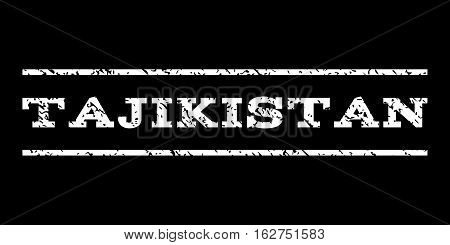 Tajikistan watermark stamp. Text caption between horizontal parallel lines with grunge design style. Rubber seal stamp with scratched texture. Vector white color ink imprint on a black background.