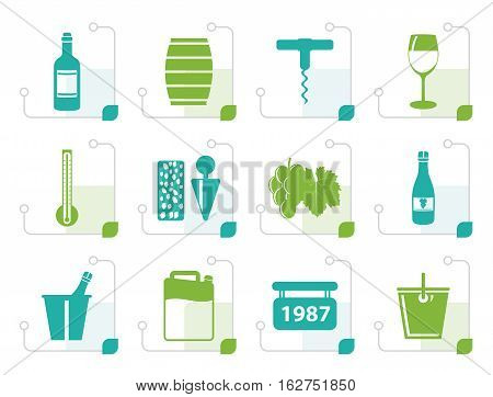 Stylized Wine and drink Icons - Vector Icon Set