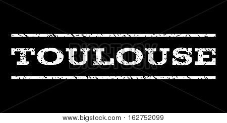 Toulouse watermark stamp. Text caption between horizontal parallel lines with grunge design style. Rubber seal stamp with scratched texture. Vector white color ink imprint on a black background.