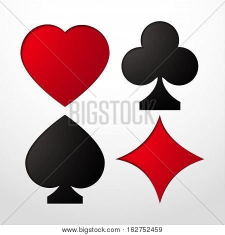 Card suit Vector illustration Stencil with card suits: Hearts Clubs Spades and Diamonds realistic style