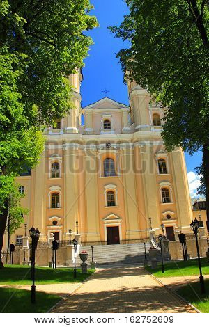 Late Baroque Basilica in the Old Village (Poland, Podkarpackie Province, village Brzozów). Built in the years 1730-1760, consecrated in 1760. In the main altar of the basilica is located a copy of the miraculou
