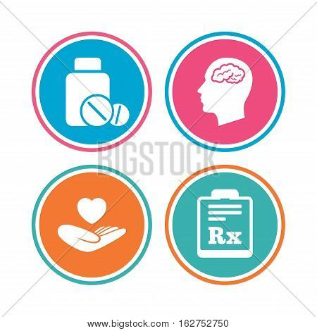 Medicine icons. Medical tablets bottle, head with brain, prescription Rx signs. Pharmacy or medicine symbol. Hand holds heart. Colored circle buttons. Vector