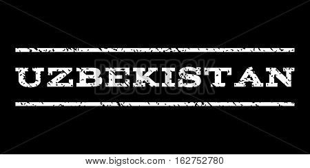 Uzbekistan watermark stamp. Text tag between horizontal parallel lines with grunge design style. Rubber seal stamp with scratched texture. Vector white color ink imprint on a black background.