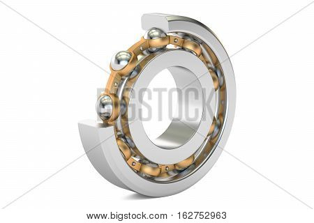 Ball bearing cutaway. 3D rendering isolated on white background