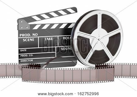 cinema movie and cinematography concept 3D rendering isolated on white background