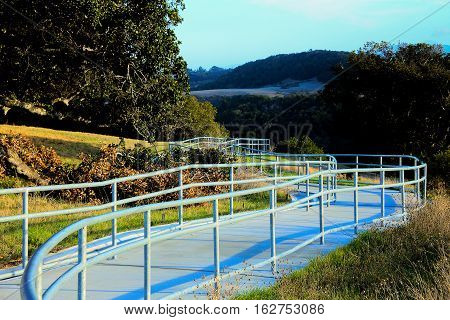 California scenic rest stop walkway with handrails to go to a overlook.