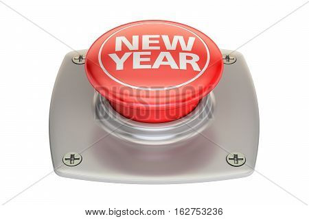 New Year Red Button 3D rendering isolated on white background