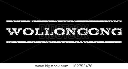 Wollongong watermark stamp. Text caption between horizontal parallel lines with grunge design style. Rubber seal stamp with dirty texture. Vector white color ink imprint on a black background.