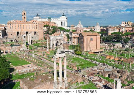 Forum - Roman famous ruins and Monument of Victor Emmanuel II in Rome, Italy