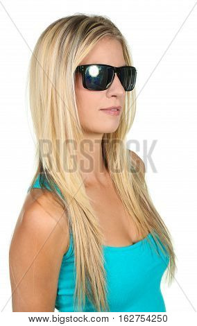 Gorgeous young lady in sunglasses looking up at the camera