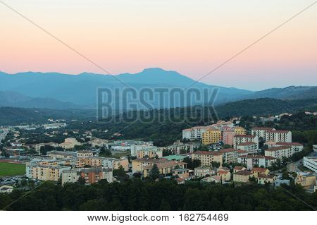 The panoramic view of Corte with mountains on background Corse France.