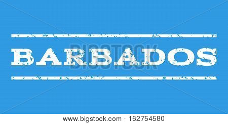 Barbados watermark stamp. Text tag between horizontal parallel lines with grunge design style. Rubber seal stamp with dirty texture. Vector white color ink imprint on a blue background.