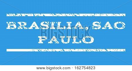 Brasilia, Sao Paulo watermark stamp. Text tag between horizontal parallel lines with grunge design style. Rubber seal stamp with dirty texture. Vector white color ink imprint on a blue background.