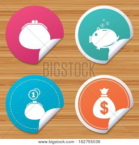 Round stickers or website banners. Wallet with cash coin and piggy bank moneybox symbols. Dollar USD currency sign. Circle badges with bended corner. Vector