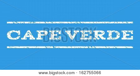 Cape Verde watermark stamp. Text tag between horizontal parallel lines with grunge design style. Rubber seal stamp with unclean texture. Vector white color ink imprint on a blue background.
