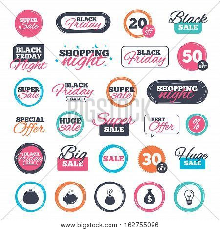 Sale shopping stickers and banners. Wallet with cash coin and piggy bank moneybox symbols. Dollar USD currency sign. Website badges. Black friday. Vector