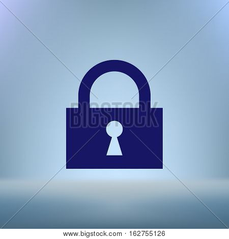 Flat Paper Cut Style Icon Of A Lock