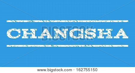 Changsha watermark stamp. Text tag between horizontal parallel lines with grunge design style. Rubber seal stamp with dust texture. Vector white color ink imprint on a blue background.