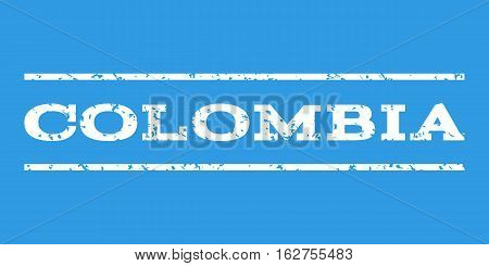 Colombia watermark stamp. Text caption between horizontal parallel lines with grunge design style. Rubber seal stamp with scratched texture. Vector white color ink imprint on a blue background.