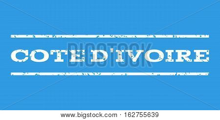 Cote D'Ivoire watermark stamp. Text caption between horizontal parallel lines with grunge design style. Rubber seal stamp with scratched texture. Vector white color ink imprint on a blue background.