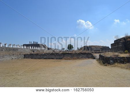ruins and pyramid remains at a Toltec archeological site located in Tula de Allende, Hidalgo, Mexico
