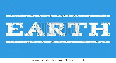 Earth watermark stamp. Text caption between horizontal parallel lines with grunge design style. Rubber seal stamp with unclean texture. Vector white color ink imprint on a blue background.