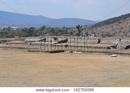 ruins and courtyard of Toltec archeological site located in Tula de Allende, Hidalgo, Mexico