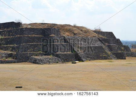 Ruins of Toltec pyramid in Tula de Allende, Hidalgo, Mexico