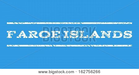 Faroe Islands watermark stamp. Text caption between horizontal parallel lines with grunge design style. Rubber seal stamp with unclean texture. Vector white color ink imprint on a blue background.