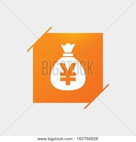 Money bag sign icon. Yen JPY currency symbol. Orange square label on pattern. Vector