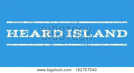 Heard Island watermark stamp. Text caption between horizontal parallel lines with grunge design style. Rubber seal stamp with dirty texture. Vector white color ink imprint on a blue background.
