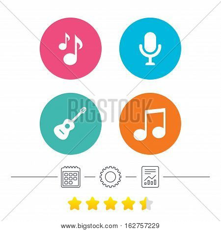 Music icons. Microphone karaoke symbol. Music notes and acoustic guitar signs. Calendar, cogwheel and report linear icons. Star vote ranking. Vector