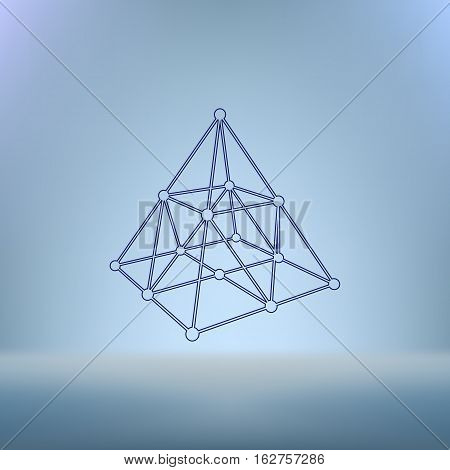Wire Frame Shape. Pyramid With Connected Lines And Dots