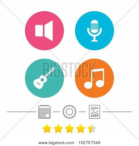 Musical elements icons. Microphone and Sound speaker symbols. Music note and acoustic guitar signs. Calendar, cogwheel and report linear icons. Star vote ranking. Vector