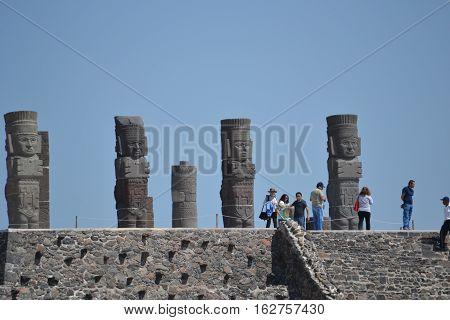 Atop a pyramid stand Atlantean Toltec warrior  Figures known as the Giants of Tula located in Tula de Allende, Hidalgo, Mexico