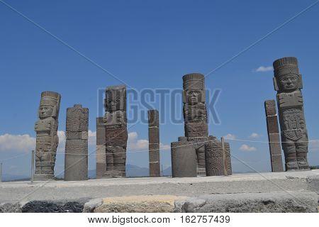 Atlantean Toltec warrior  Figures known as the Giants of Tula located in Tula de Allende, Hidalgo, Mexico