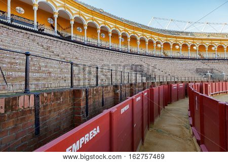 Plaza de los toros at Seville Spain. The corridor by arena.