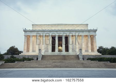 The Lincoln Memorial in Washington DC at dawn on Memorial Day weekend