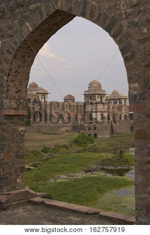 MANDU, MADHYA PRADESH, INDIA - NOVEMBER 18, 2008: Ancient islamic royal palace of Jahaz Mahal. Mandu, Madhya Pradesh, India. 16th Century AD