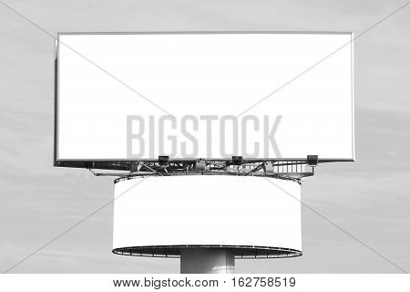 Two blank billboards - black and white image