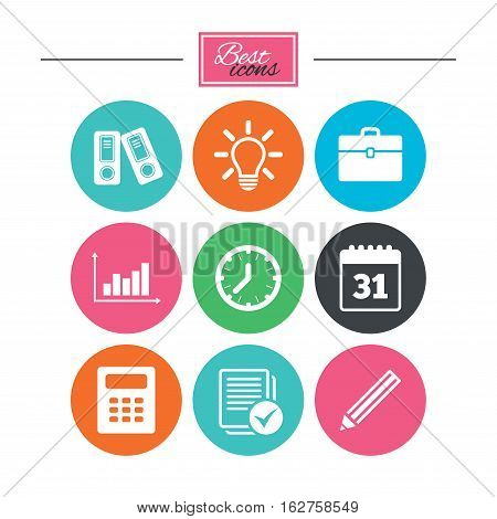 Office, documents and business icons. Accounting, calculator and case signs. Ideas, calendar and statistics symbols. Colorful flat buttons with icons. Vector