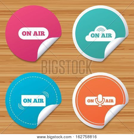 Round stickers or website banners. On air icons. Live stream signs. Microphone symbol. Circle badges with bended corner. Vector