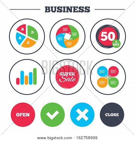 Business pie chart. Growth graph. Open and Close icons. Check or Tick. Delete remove signs. Yes correct and cancel symbol. Super sale and discount buttons. Vector